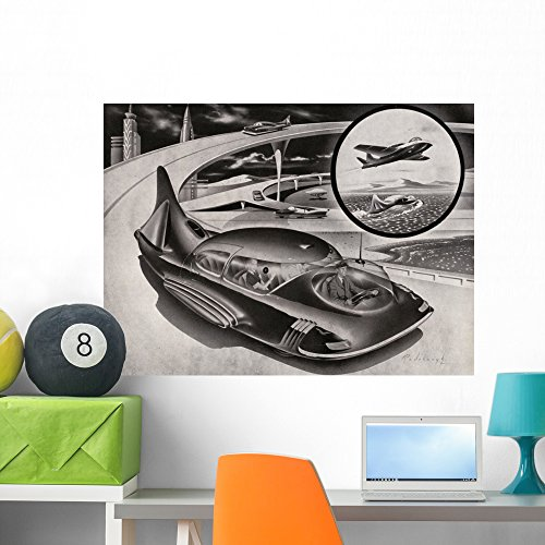 Futuristic Car Is Car Wall Mural by Wallmonkeys Peel and Stick Graphic (36 in W x 26 in H) - 50s Style Futuristic