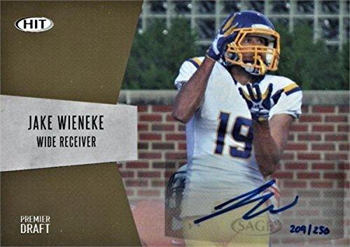 Jake Wieneke autographed Football Card (South Dakota State) 2018 SAGE HIT Draft Rookie #A15 - Football Slabbed Autographed Rookie Cards
