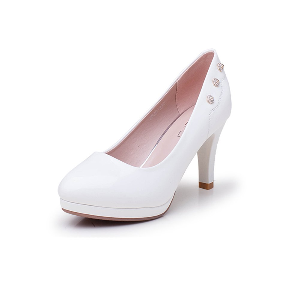 XUERUI Shallow Mund Runde High Heels in Ordnung mit Strass Plateau High Heels Schuhe Flut Pumps (Größe   EU36 UK3.5 CN35)