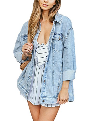Eliacher Women's Boyfriend Denim Jacket Long Sleeve Loose Jean Jacket Coats (L, Pale Blue Washed)
