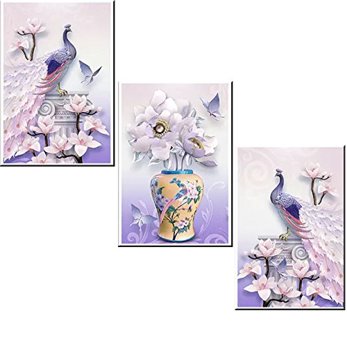 5D Diamond Painting kit diy crafts set paint with diamonds full drill mosaic Art Pictures 3d round crystal rhinestone peacock flower counted Embroidery wall sticker for Home Decoration 51.9'' x 23.6'' -