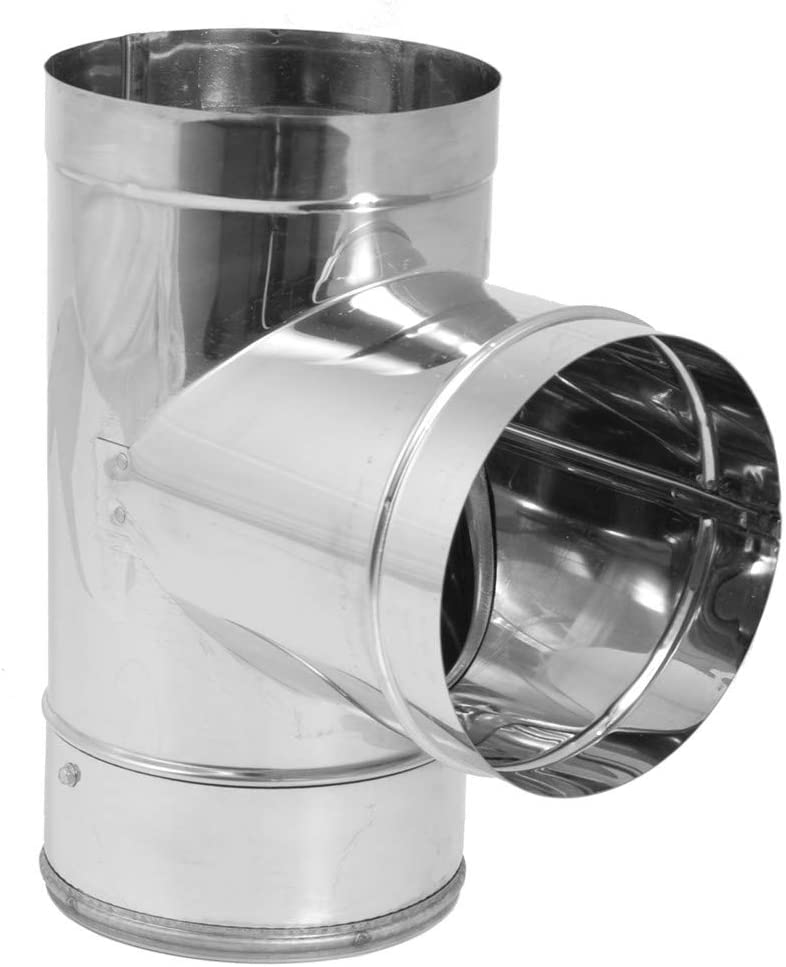 """DuraVent 8DBK-TSS DuraBlack SS Tee with Clean-Out Cap, Use with Rear Exit Appliances and Appliances that Require a Barometric Damper, Stainless Steel, 8"""" Inner Diameter"""