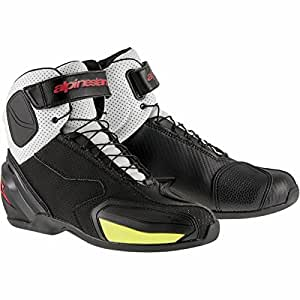 Alpinestars SP-1 Men's Vented Street Motorcycle Shoes - Black/White/Red/Yellow / 43