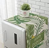 Mvchif Washing Machine Cover Dustproof Cotton Fridge Cover Decorative Top Load Cover with Side Storage Pockets 54x23inches (Green Leaves)