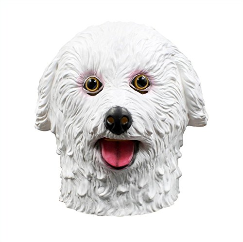 QTMY Latex Rubber Animal Teddy Bear Dog Mask for Halloween Party Costume (White) -