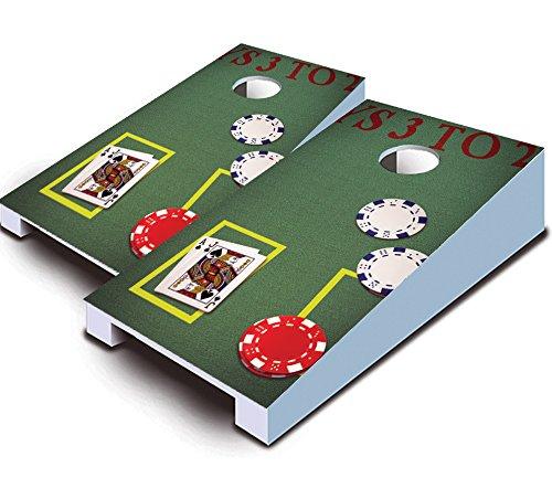 BLACKJACK Poker Casino Gambling Theme TABLETOP Desktop Cornhole Boards Game Set Bean Bag Tailgate Toss Mini Miniature by Buckeye Nation Sales