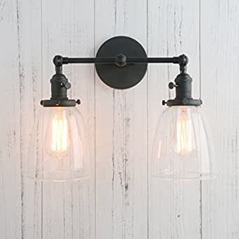Permo Double Sconce Vintage Industrial Antique 2-lights Wall Sconces with Oval Cone Clear Glass Shade (Black)
