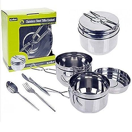 6 piezas conjunto de utensilios de cocina ollas y sartenes para cocina, exterior viaje Camping/Camp ...