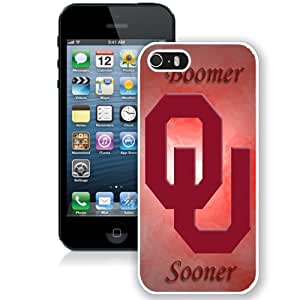 Beautiful And Popular Designed With NCAA Big 12 Conference Big12 Football Oklahoma Sooners 10 Protective Cell Phone Hardshell Cover Case For iPhone 5S Phone Case White