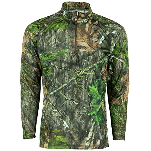 Hunting Shirt (Mossy Oak Men's Camo Lightweight 1/4 Zip Hunting Shirt, Obsession, Large)