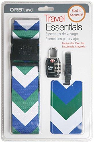 ORB Travel - Travel Essentials Kits-TE124-Chevron-Blue/Forest Green/White
