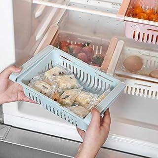 "STARSLIFE Retractable Drawer Type Refrigerator Storage Box Food Fresh-keeping Classified Organizer Container Basket Fridge Shelf Holder Plastic Storage Bins, Fit for Fridge Shelf Under 0.5"" - Blue"