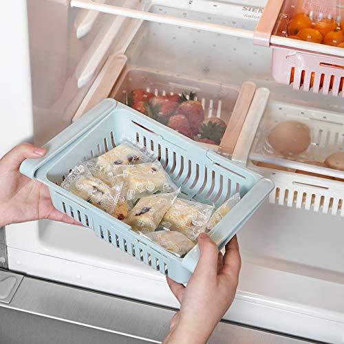 STARSLIFE Retractable Drawer Type Refrigerator Storage Box Food Fresh-keeping Classified Organizer Container Basket Fridge Shelf Holder Plastic Storage Bins, Fit for Fridge Shelf Under 0.5