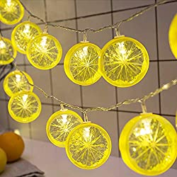 Twinkle Star 20 LED 10.3 ft Lemon String Lights Battery Operated for Indoor Wedding Party Christmas Tree Bedroom Decoration, Warm White