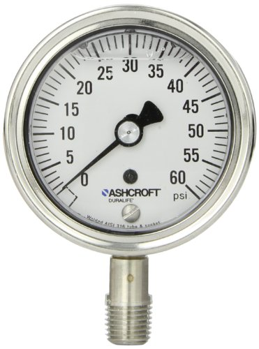 Ashcroft Duralife Type 1009SW Stainless Steel Case Pressure Gauge with Stainless Steel System, 2.5
