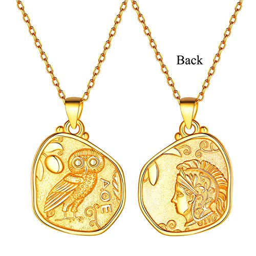 Men Women Gold Greek Coin Necklace, 18K Gold Plated Vintage Dainty Athena & Owl Irregular Pendant Necklace Goddess of Wisdom Greek Mythology Jewelry