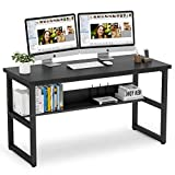 Tribesigns 55'' Computer Desk with Bookshelf Works as Office Desk Study Table Workstation for Home Office (55'', All Black)