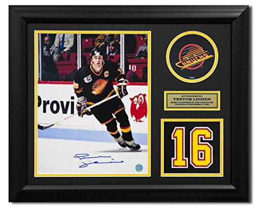 AJ Sports World Trevor Linden Vancouver Canucks Signed Retired Jersey Number 23x19 Frame ()