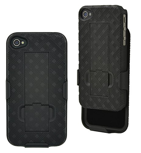 iPhone 4S / 4 Case, Aduro COMBO Shell & Holster Case Super Slim Shell Case w/ Built-In Kickstand + Swivel Belt Clip Holster for Apple iPhone 4S / 4 (Iphone 4 Case With Clip compare prices)