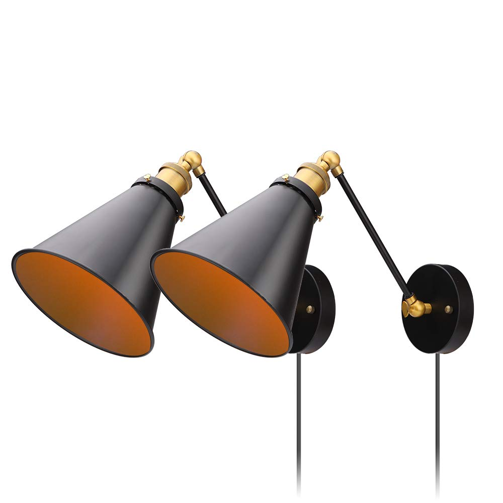Industrial Bedroom Wall Lamps Plug in with Switch Vintage Wall Reading Light Simplicity Sconces Set of 2