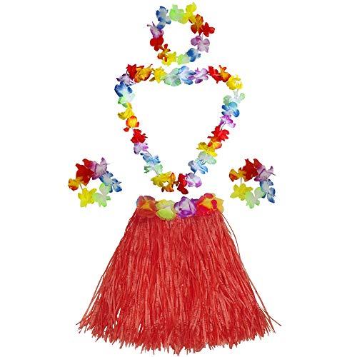 Fighting to Achieve Girls elastic Hawaiian hula dancer grass skirt with flower costume set-red