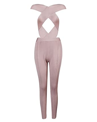 6f5852893f3c UONBOX Women  Sexy Cut Out and Crossover front Bodycon Bandage Jumpsuit  nudeS