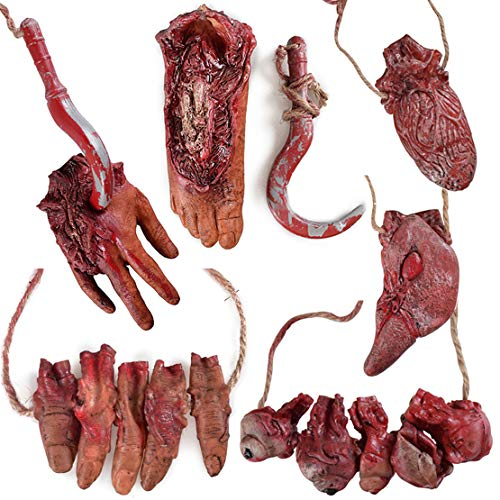 Halloween Blood Props Fake Scary Severed Hand Broken Body Parts for Haunted House Halloween Vampire Zombie Party Decorations Supplies (6pcs Body Parts ) -