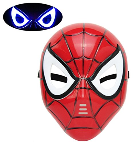 [Mizzuco Halloween Cosplay LED Eye Mask For Children(Red)] (Spiderman Mask Kids)
