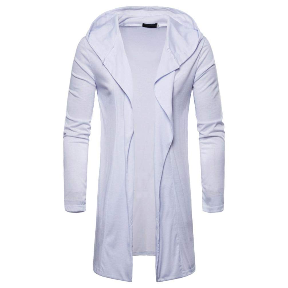 iZHH Mens Hooded Outwear Blouse Solid Trench Coat Jacket Cardigan Long Sleeve(White,US-XL)