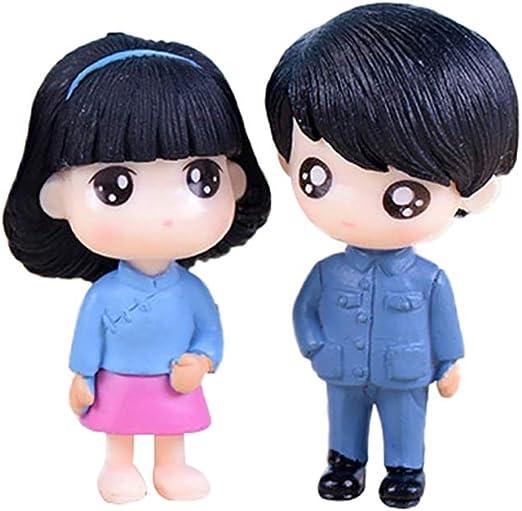 Bismarckbeer - Juego de 2 piezas de muñecos de dibujos animados para jardín de hadas y muñecas, accesorios de decoración para casa, Cloruro de polivinilo., azul, talla única: Amazon.es: Hogar