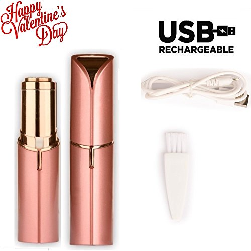 Women's Facial Hair Remover, Female Hair Remover with Rechargeable Battery USB Electric Painless Hair Remover Lipstick Razor, Light Hair Removal - Mini Travel Size 18K Gold-Plated with LED - Looking Hair Facial Best