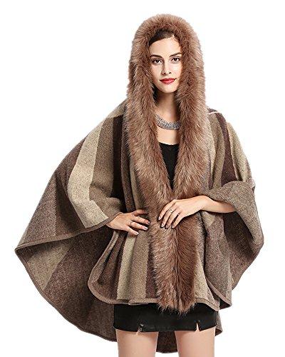 El Chaqueta Las Sun Del Color Abrigo Envuelven Fur Punto Faux Fox De Cabo Encapuchado Señoras Cardigan Caqui Mujeres Cuello rR6WAnr