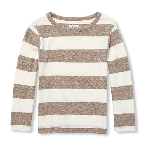 The Children's Place Baby Boys Long Sleeve Jersey Stripe TOP, Feather, 3T ()