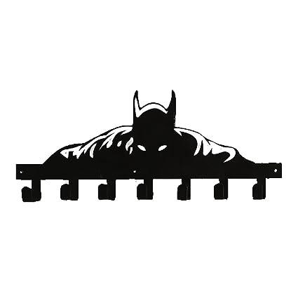 YOURNELO Creative Ironwork Marvel The Avengers Art Wall Mounted Decorative Coat Rack Hooks (Batman Black2)