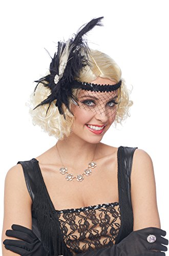 Flapper Black Sequin Deluxe Headpiece with Face Net (Deluxe Flapper Girl Costume)