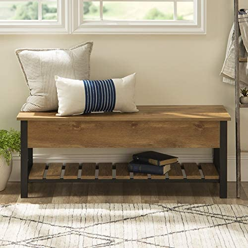 New 48 Inch Wide Open-Top Storage Bench with Shoe Shelf – Barnwood Color