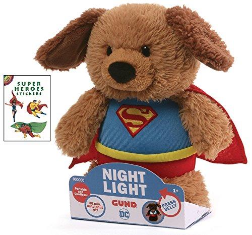 Gund Superman Nightlight 8 in Plush Animal with Super Heroes Sticker Book (Little Dog Teddy Bear Costume)