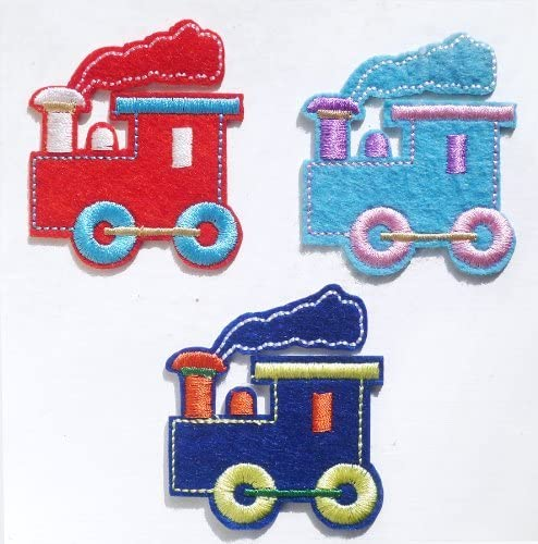 Set of 3 Choo-Choo Trains Iron on Sew on Embroidered Patch Badge Applique Motif