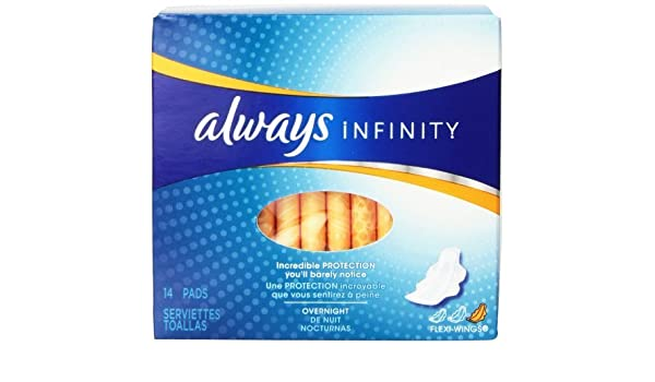 Amazon.com: Always Infinity Unscented Pads with Wings, Overnight, 14 Count (Pack of 6) by Always: Health & Personal Care