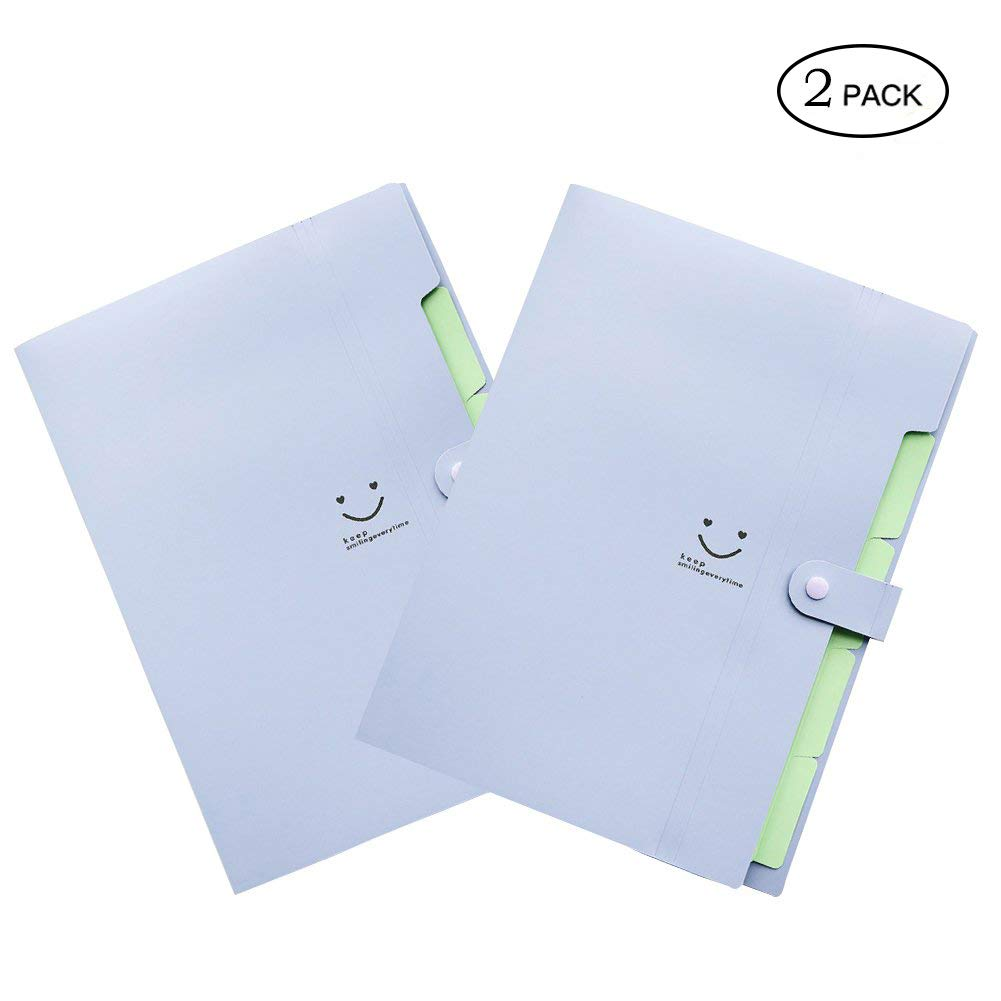 Letter A4 Size Paper Expanding File Folder Pockets Cute Accordion Document Organizer with Snap Closure for School and Office (Purple 2 pcs)