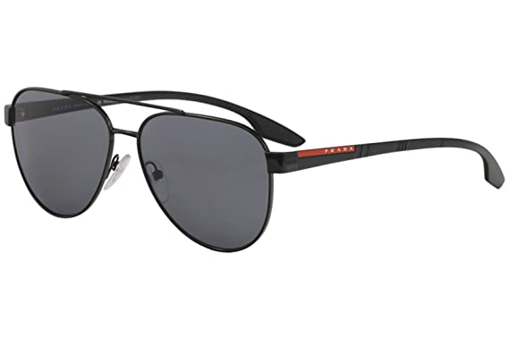 6fa171953f2 Amazon.com  Prada Linea Rossa Men s 0PS 54TS Black Rubber Dark Grey  Polarized One Size  Prada Sport  Clothing