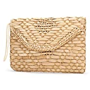 Straw Clutch Purse, JOSEKO Women Wristlet Clutch Handbag Envelope Bag Large Wallet Summer Beach Bag