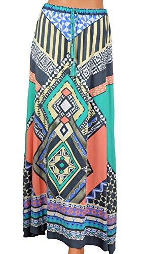 Flying Tomato Women's Tribal Boho Maxi Skirt S Blue