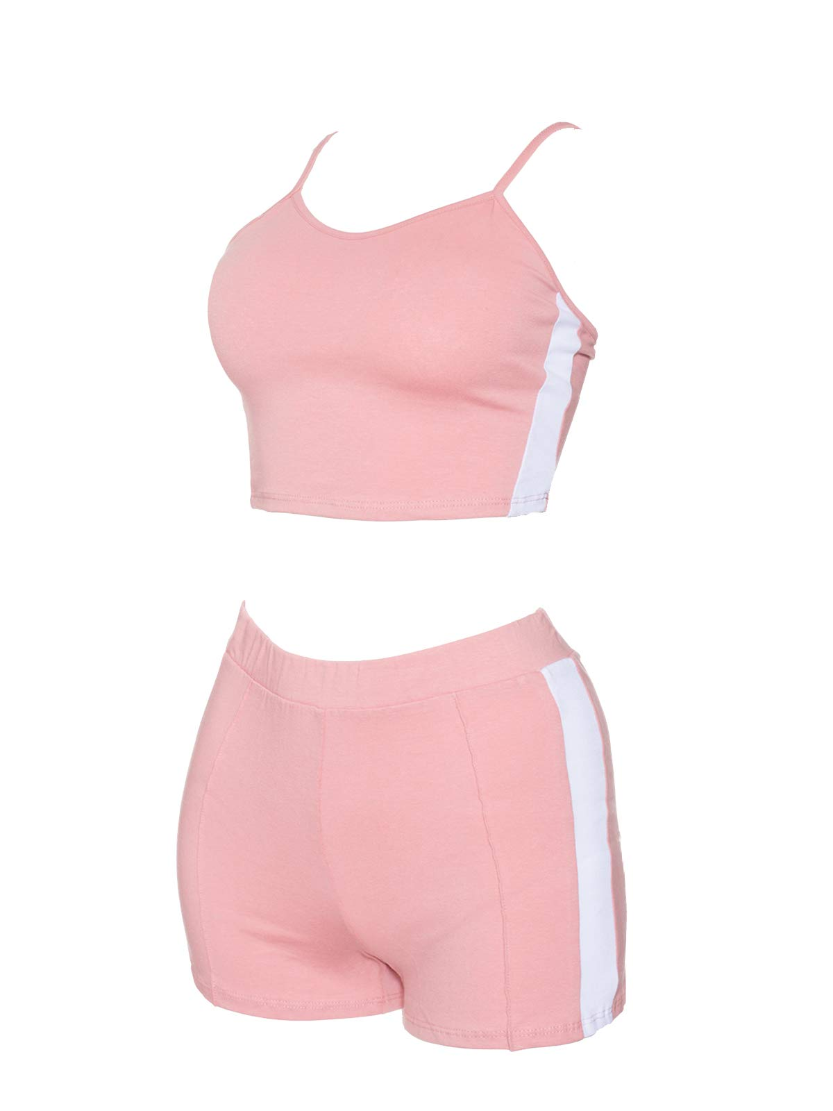 Instar Mode Women's Crop Shirts Top with High Waist Shorts Sets Tracksuit- Made In USA Mauve S