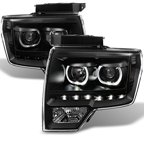 For Ford F150 Black Exclusive Halo Projector SMD DRL LED Headlights Driver + Passenger Side Pair