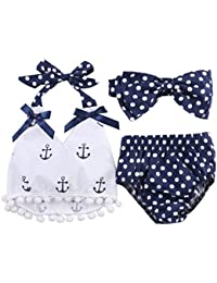 Infant Baby Girls Clothes Anchor Tops+Polka Dot Briefs...