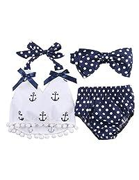 Baby Girls Clothes Anchor Tassel Tops+Navy Polka Dot Briefs 3pcs Outfits Set Bodysuit