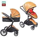 AUS 2-in-1 Elegant Baby stroller (Carriage & Bassinet Combo) Shock-Resistant High Landscape View Infant Leather Pram Stroller travel system (Brown)