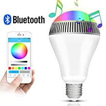 Morpilot® Portable Bluetooth 4.0 Wireless Smart LED Light E27 Bulb Lamp Lighting w/Built-in Music Speaker Smartphone Free App Control via Apple iPhone Android Devices for Home & Office gifts