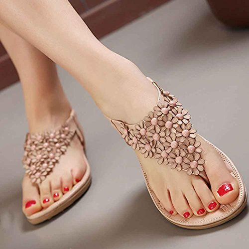 WINWINTOM Newest Women Sandals, Women's Fashion Sweet Beaded Clip Toe Flats Bohemian Herringbone Sandals Pink